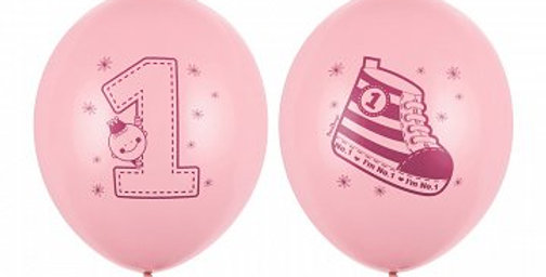 Strong Balloons, Sneaker - Number 1, Pastel Baby pink with pink double-sided pr