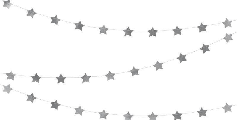 Sewen garland Stars made of foil in mirror silver colour, length approx. 3.6 m,