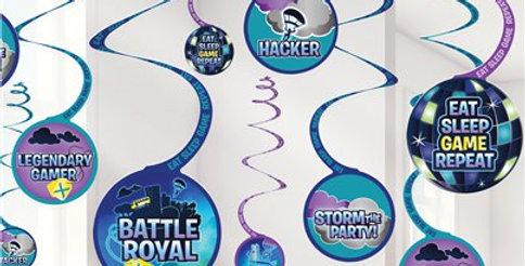 Battle Royal Hanging Swirl Decorations (12pk)