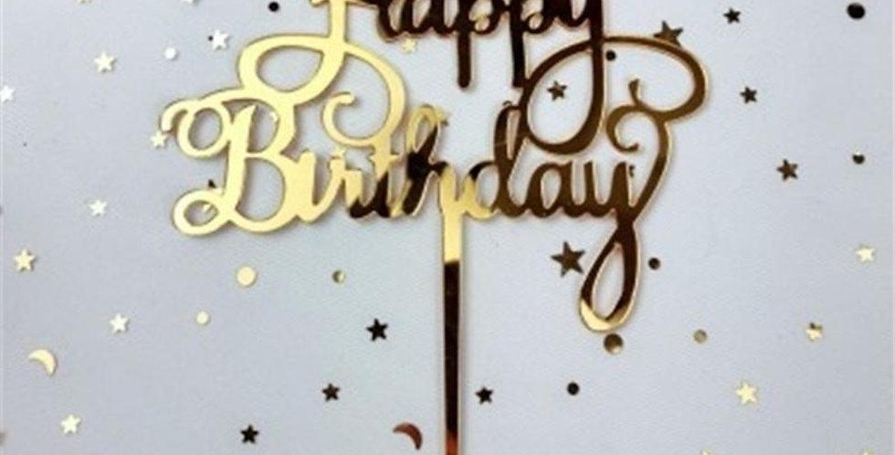 Birthday topper gold approx acrylic 15cm high