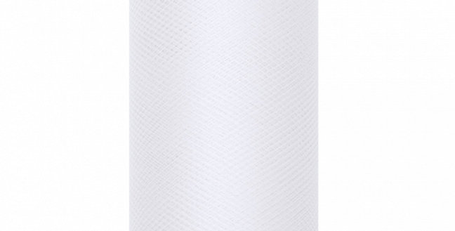 Tulle Plain, white, on a roll, size 0.15x9 meters.