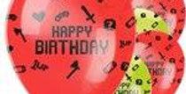 "Game On Balloons - 12"" Latex (6pk)"