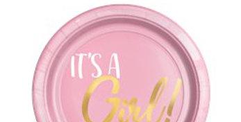 Oh Baby 'It's a Girl' - Plastic Dessert Plates - 18cm (20pk)