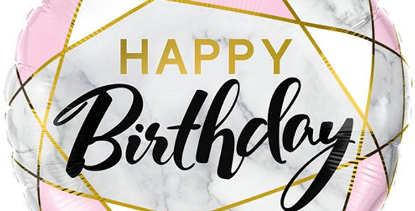 Marble Birthday Balloon - 18'' Foil