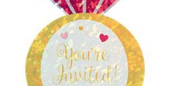 Jumbo Diamond Ring Invites - Party Invitation Cards (8pk)