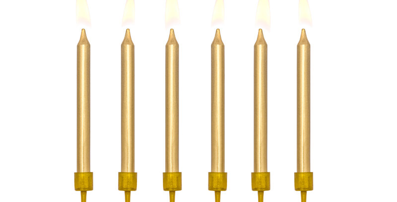 Birthday candles plain, metallic gold, size approx. 6 cm, set contains 6 candles