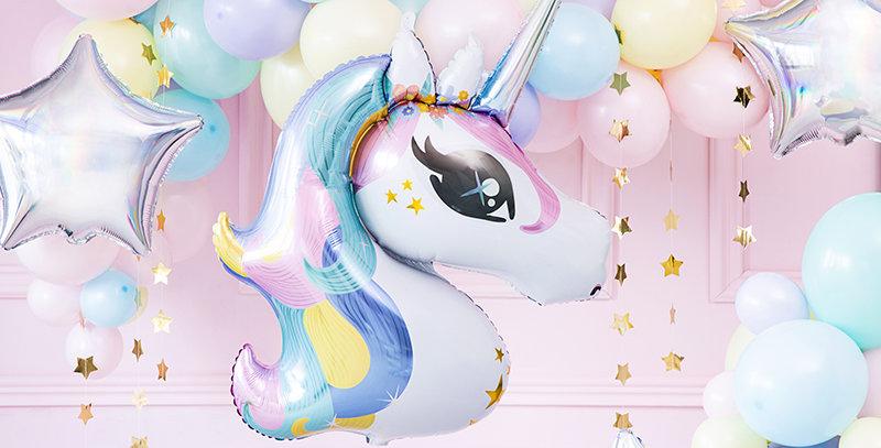 balloon Unicorn, 73x90cm, mix  Glossy foil balloon Unicorn in white colour with