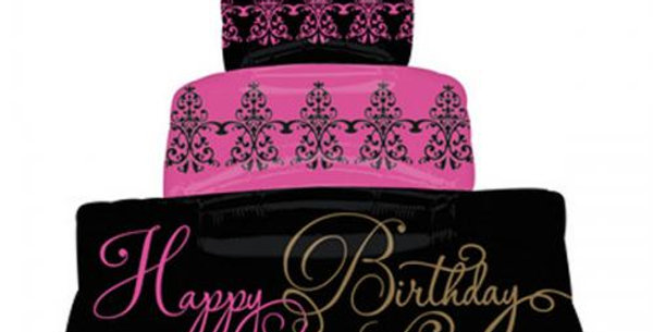 Supershape 3 Tier cake pink and black