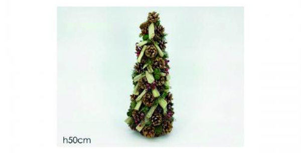 50cm high Pine Christmas tree decorated