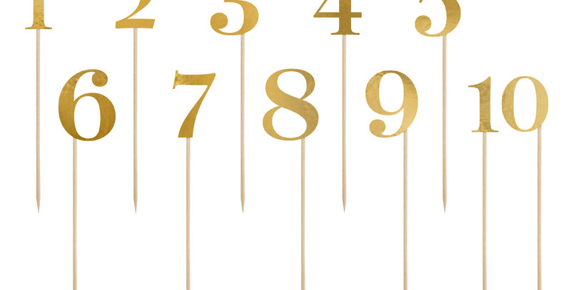 Table numbers, made of gold mirror paper, set contains numbers from 0 to 9, heig