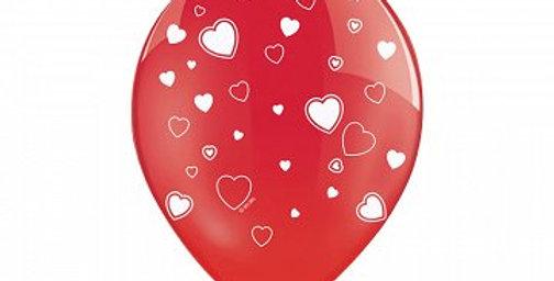 Balloons 30cm, Hearts, Crystal Poppy Red 6pk