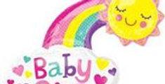 """Baby Girl Rainbow Supershape Balloon - 30"""" Foil (each)"""