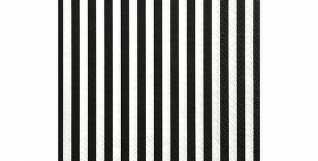 3-layer napkins Stripes, white with black printing, size 33x33 centimeters.