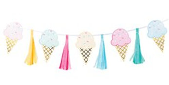 Ice Cream Foil Tassel Garland - 1.4m (each