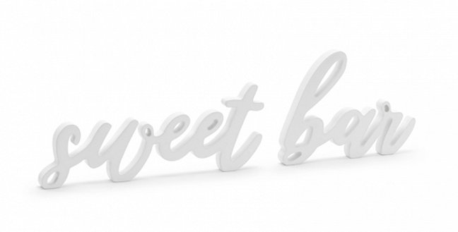 Inscription Sweet bar made of wood in white colour, set contains words sweet (si