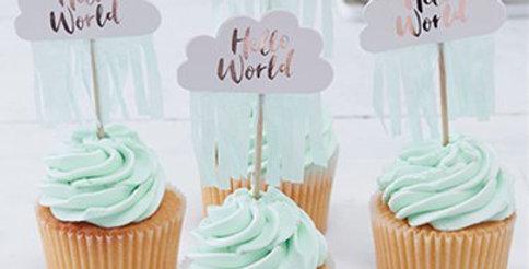 Hello World Rose Gold Cupcake Picks - 6cm (10pk)