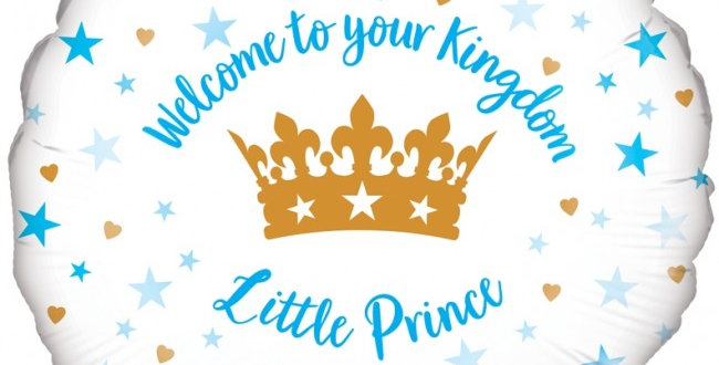 Blue & White Welcome To Your Kingdom Little Prince - 18'' Foil Balloon