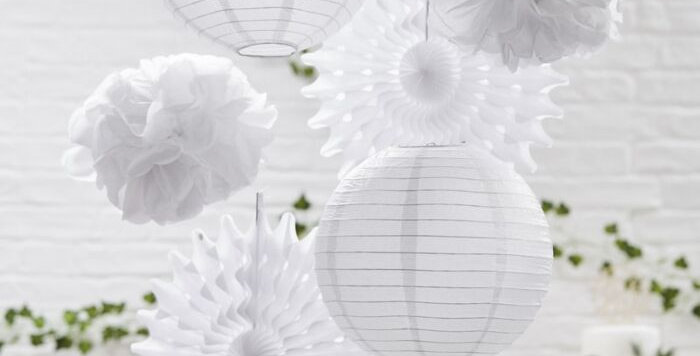 Assorted white hanging wedding decorations - perfect for your big day