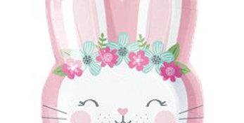 Birthday Bunny Shaped Plate - 23cm (8pk)