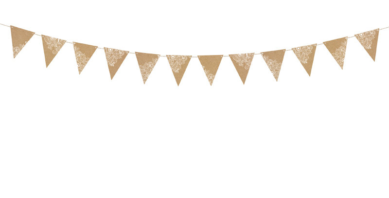 Bunting, made of kraft paper with white print, do it yourself, set contain