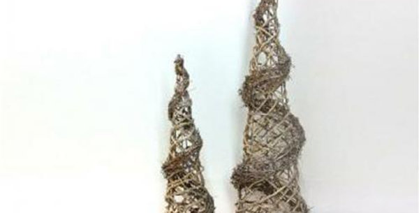 Set of 2 decorative Christmas intertwined trees