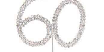60th Birthday / Anniversary Diamante Cake Pick (each)