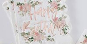 HAPPY BIRTHDAY FOILED PAPER NAPKINS - DITSY FLORAL   16pk