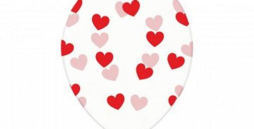 Balloons 30cm, Hearts, Crystal Clear 6pk