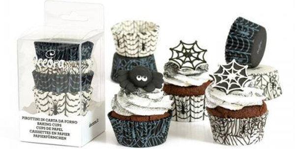 75pk Halloween Print black and white spiderweb