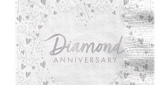 60th Diamond Wedding Anniversary Napkins - 33cm (16pk)