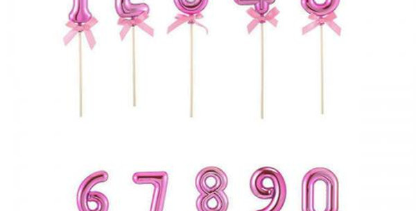 Number Foil shape pink cake topper on a stick with bow