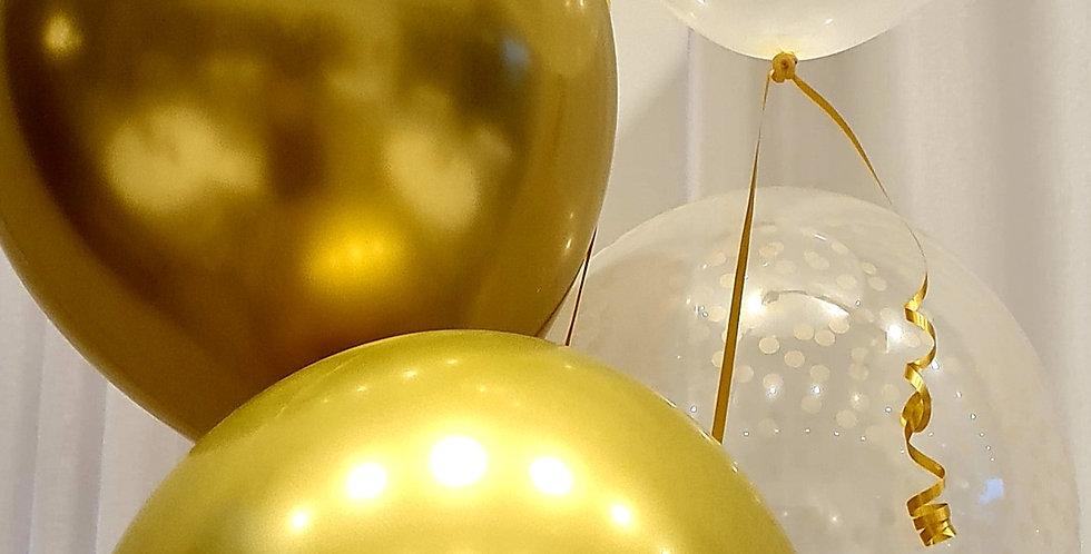 Star, Chrome & confetti print latex balloons  bouquet