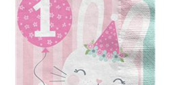 Birthday Bunny 1st Birthday Lunch Napkins - 33cm (16pk)