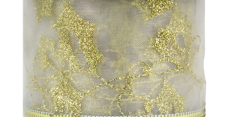 Gold Christmas Wired Ribbon 5cm x 2.75m