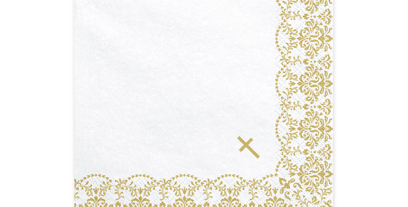 Paper napkins , white with gold ornament, size after unfolding approx. 33 x 33 c
