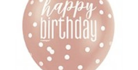Rose Gold Glitz 12'' Happy Birthday Latex  6pk.