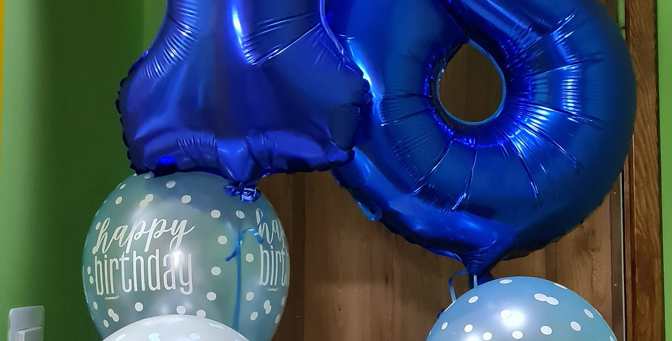 """2 x 34"""" foil numbers inflated with helium plus 3 latex 12"""" balloon per bunch"""