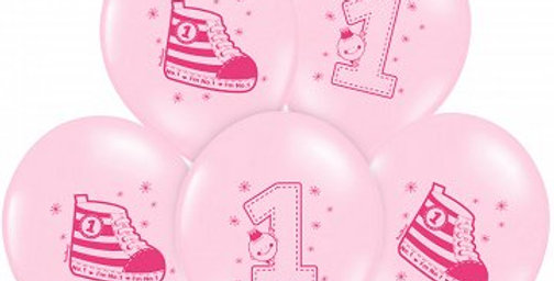 Balloons 30cm, Sneaker - Number 1, Pastel pink  Strong Balloons, 6pk