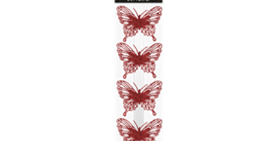 Christmas Red Glittered Butterfly Decorations - 4 Pack