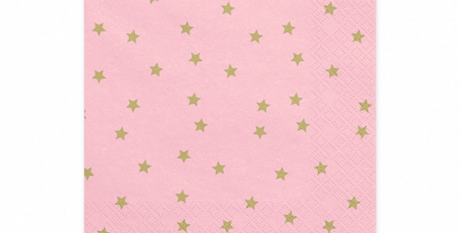 3-layer napkins Stars, light pink with gold print, size 33 x 33 cm. 20pk