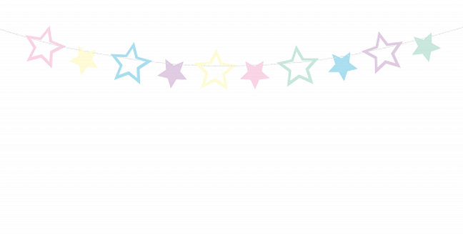Garland Unicorn - Stars, mix of colours, do it yourself, set contains 10 stars a