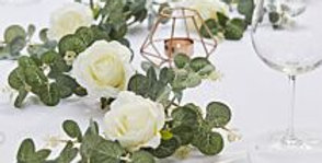 Artificial Eucalyptus Garland With White Roses