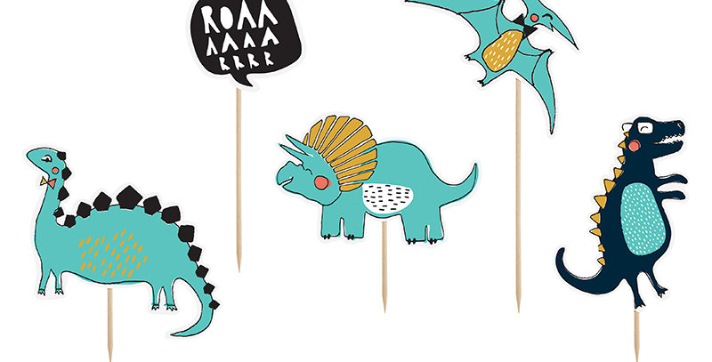 Toppers Dinosaurs, mix of designs, height approx. from 10.5 to 20 cm. 5pk