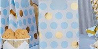 Pattern Works Blue & Gold Polka Dot Party Bags 5pk