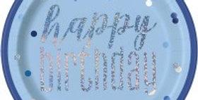 Blue Birthday Glitz Paper Plates - 23cm (8pk)