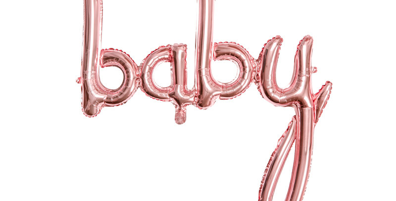 Foil balloon Baby in rose gold colour, size approx. 73.5 x 75.5 cm