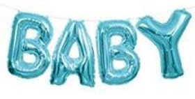 "Baby / gold Blue Phrase Balloon Bunting - 14"" Foil (each)"