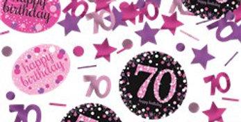 Pink / gold Celebration Age 70 Confetti - 34g (34g)