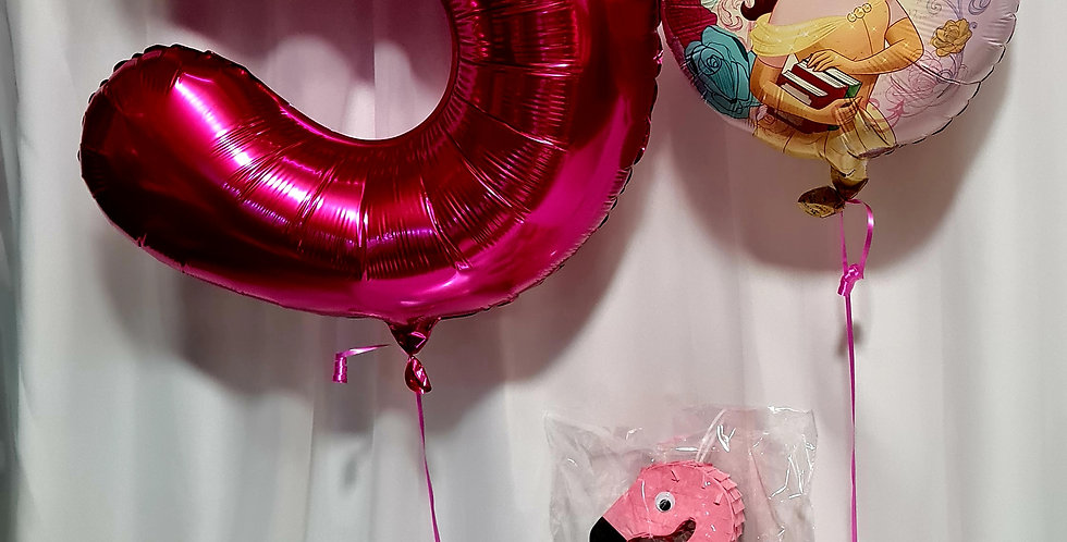 """1 number 34"""" foil balloon + 1 foil 18"""" balloon including helium"""