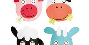 Farm Fun Party Masks (8pk)